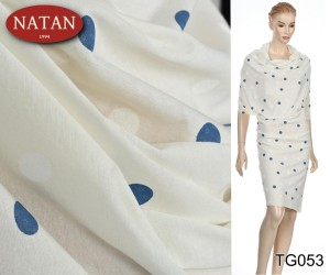 Jersey Dzianina Cotton Groszki Blu